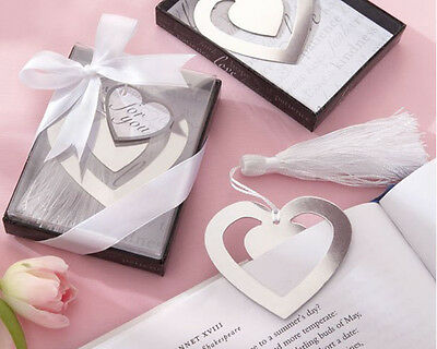 1x Exquisite Heart Alloy Bookmark With Ribbon Box As Gift