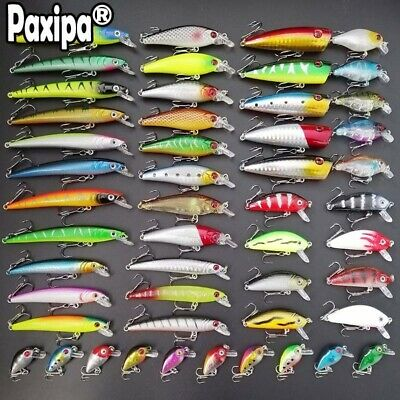 Promotion ! Lot 56 Mixed Minnow Fishing Lures Bass bait Crankbait treble hook