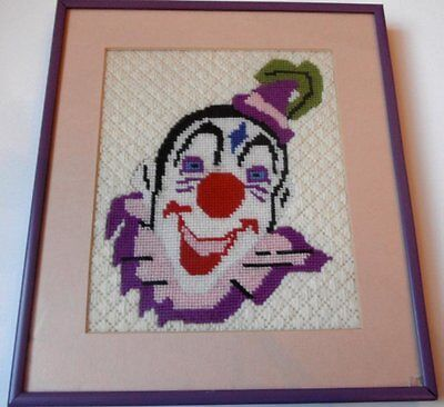 SO CREEPY! Amazing Clown Framed Sewing Art