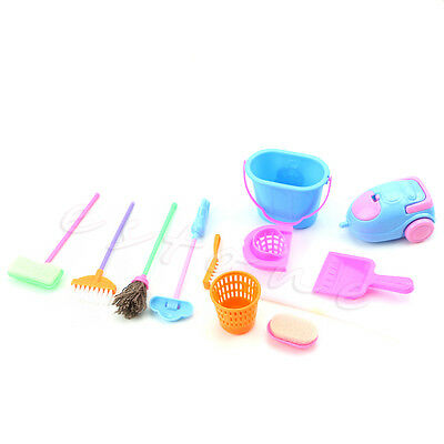 1set 9Pcs Cleaning Home Furniture Furnishing Cleaner Kit For Barbie Doll House