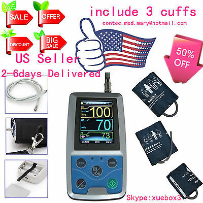 US Sell CONTEC Ambulatory Blood Pressure Monitor+Software 24h NIBP Holter ABPM50