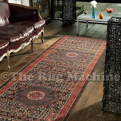 DEVINE BROWN BLUE VINTAGE MEDALLION STYLE TRADITIONAL HALL RUNNER 80x300cm *NEW*