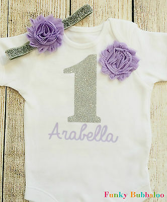 Personalised Silver Lilac First Birthday Outfit Top T Shirt Bodysuit Cake Smash