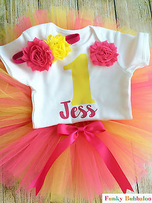 Personalised First 1st Birthday Tutu Set Baby Girl Pink & Yellow Party Outfit
