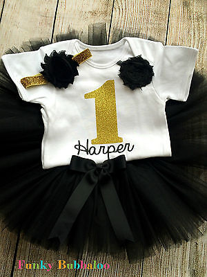 Personalised 1st Birthday Tutu Set Baby Girl Gold & Black Outfit First CakeSmash