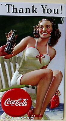 COCA COLA heavy embossed metal sign thank you vintage style pinup coke 2180101