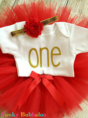 First Birthday Tutu Set Baby Girl Gold & Red Party Outfit Cake Smash Photo 1st