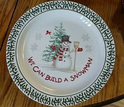 "Stoneware We Can Build A Snowman Dinner plates 10.25"" Winter Holiday Dinnerware"