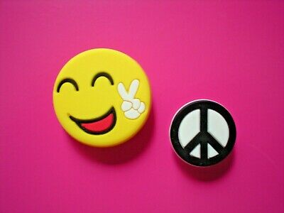 Clog Shoe Charm Plug Button Pin Accessories Wristband Smile Face Peace Sign