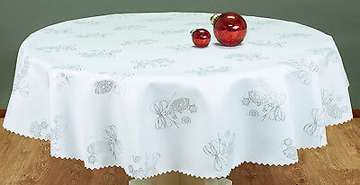 """High Quality Tablecloth """"CHRISTMAS BAUBLES"""" Round,Oblong:White-Gold,White-Silver"""