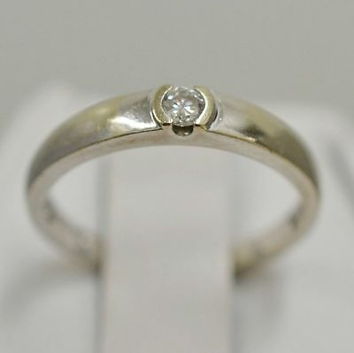 14k White Gold Band with Diamond 0.07 tcw Ring Size 6