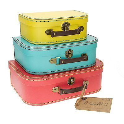 Set of 3 Bright Colour Retro Suitcases Yellow Blue Red Storage Sass & Belle