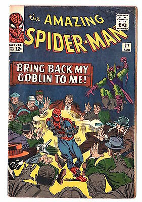 The Amazing Spider-Man #27 (1963 Series) Green Goblin Crime-Master Aug 1965 VG