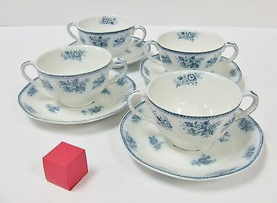 J & G Meakin Sydney Pattern Set Of 4 Double Handled Cups & Saucers White Blue
