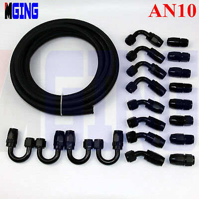 AN10 AN-10 AN 10 10M Stainless Nylon Braided Oil Fuel Line Hose End KIT 32.8FEET