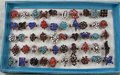NEW Lot of 50 PCS COLORED RHINESTONE ADJUSTABLE RINGS