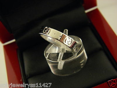 Authentic Gucci 18K White Gold Icon Band Ring Size 5.25 .