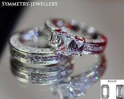 Luxe 3 CT Engagement Ring Set Wedding Band Platinum Fine.925 S.Silver Italy