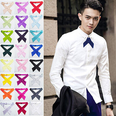 Fashion Women Girls Men Boy Solid Color Party Wedding Bowties Cross Knot Necktie
