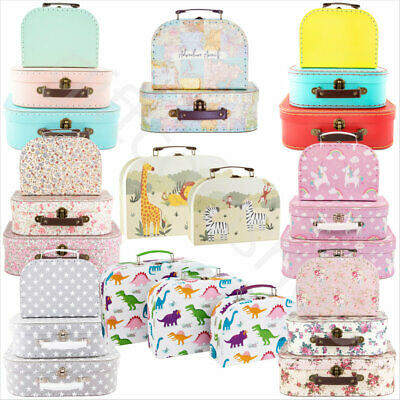 Set Of 3 Mini Suitcases Vintage Floral Kids Storage Boxes Mini School Suitcase