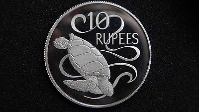 1974 Seychelles 10 Rupees Turtle Silver Proof Coin