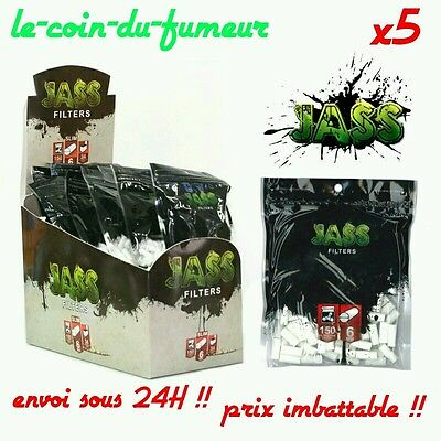 Lot De 5 Sachets De 150 Filtres SLIM JASS - 6 MM -SUPER PROMO !!!!!!!!!!