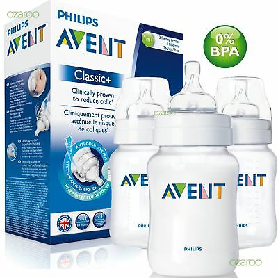 3 x Philips Avent Classic+ Baby Feeding Bottle 260ml/9oz Slow Flow 1m+ SCF563/37