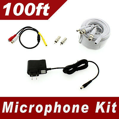 [100ft] Premium Microphone kit for Zmodo, Funlux, Amcrest, etc - Universal type