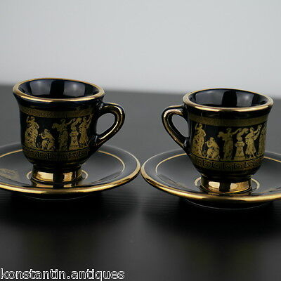 Vintage pair hand made 24ct gold plate pottery coffee cups and plates Greek blue