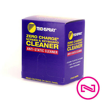 Techspray Zero Charge Screen & Keyboard Cleaner Wipes 50 Pack - NEW! 1743-50PK