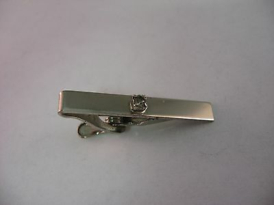 Vintage Mens Tie Bar Jewelry: Silver Tone Clear Jewel