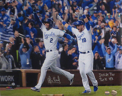 Alcides Escobar Autographed 2015 World Series Inside the Park Home Run Photo