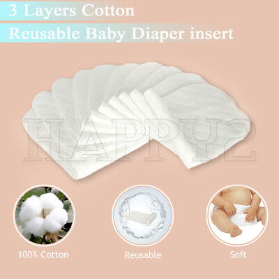 10 PCS - 60 PCS Reusable Baby Cloth Diaper Nappy Liners insert 3 Layers Cotton