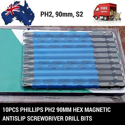 AU Stock 10pcs Phillips PH2 90mm Hex Magnetic Antislip screwdriver Drill bits