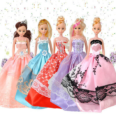 5pcs Princess Wedding Bridal Dress Party Gown Clothes Outfits For Barbie Doll