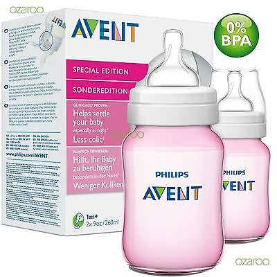 New Philips Avent Classic+ 260ml/9oz Pink Baby Girl Bottle Twin Pack SCF564/27