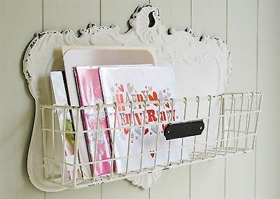 Wall Hanging Shelf Display Bathroom Basket Plaque Shabby Chic French Style