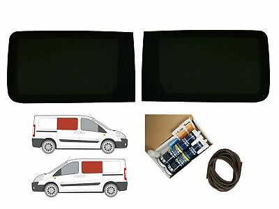 Twin Side Dark Tint Fixed Windows Pair Adhesive Trim Kit for Fiat Scudo (07-16)