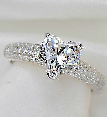 New Boxed 925 Silver Ladies Heart Cut Wedding Engagement Bridal Ring