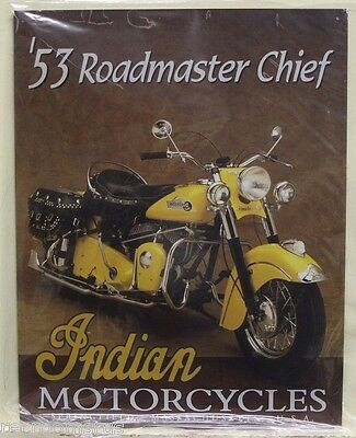 INDIAN motorcycles metal sign 53 Roadmaster chief classic bike american steel