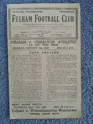 1946 - FULHAM v CHARLTON PROGRAMME - FA CUP 3rd Round
