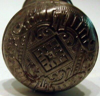 Victorian Antique Silver Plate Metal Ornate Decorated Door Knob Handle Vintage