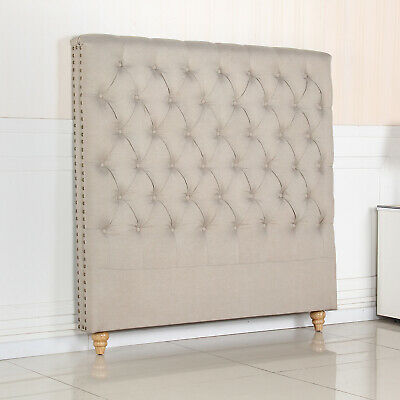 Bed Head Double Padded Upholstered Fabric Button Studded Beige Headboard Sean