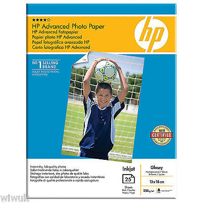 HP Advanced Inkjet Glossy Photo Paper 250 g/m2 A4 210x 297mm x 25 Sheets