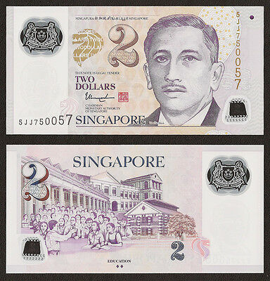 SINGAPORE 2 Dollars, 2 Diamonds, 2015, P-46, POLYMER, UNC