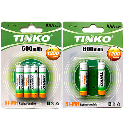 6 x AAA 600mAh 1.2v RECHARGEABLE NI-MH BATTERIES FOR CORDLESS PHONE/SOLAR LIGHTS