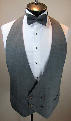 Mens Formal Vest Grey Double Breasted Grey Tie Size Large B7
