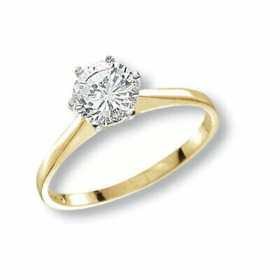 9ct Yellow Gold Ladies Solitaire CZ Ring 7mm *All Sizes Available* NEW