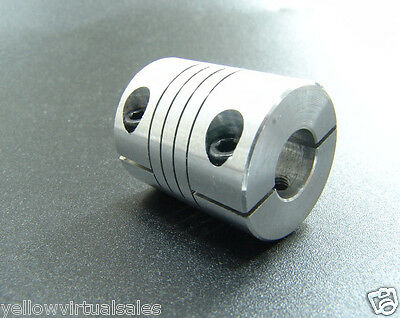 "8mm x 12.7mm 1/2"" Aluminum Flexible Shaft Clamp Coupler Coupling 8 x 12.7 CNC"