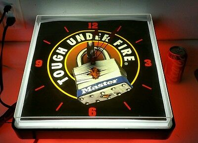 "Vtg Master Paddle Key Lock  ""Tough Under Fire""  wall business time hanging clock"